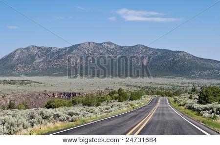 Two Lane Road Flat Desert Mountains New Mexico