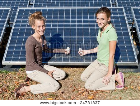 Girls Compact Fluorescent Light Bulbs Solar Panels