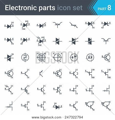 Electric And Electronic Icons, Electric Diagram Symbols. Thyristors, Triacs, Diacs And Transistors.