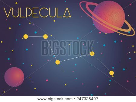 Bright Image Of The Constellation Vulpecula. Kids Who Are Fond Of Astronomy Will Like It Very Much.