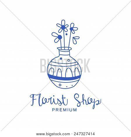 Florist Shop Premium Logo, Badge For Floral Boutique, Florists Hand Drawn Vector Illustration In Blu