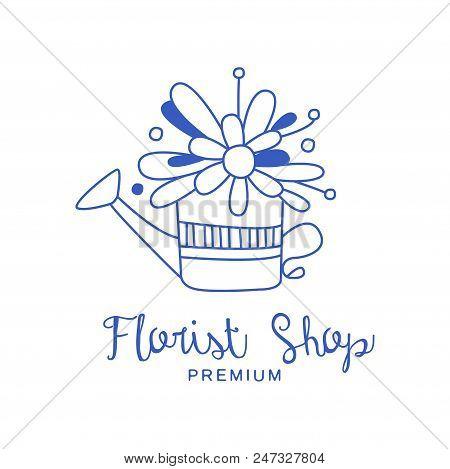 Florist Shop Premium Logo, Badge For Flower Boutique Hand Drawn Vector Illustration In Blue Color Is