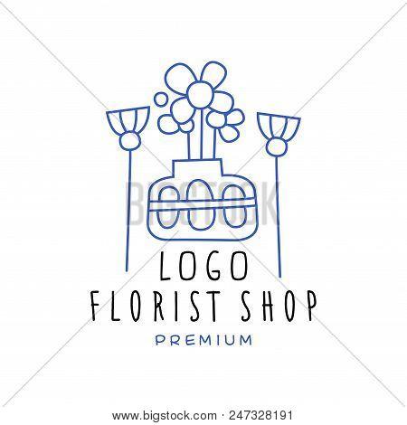 Florist Shop Logo Premium, Flower Boutique Logo Design Hand Drawn Vector Illustration In Blue Color