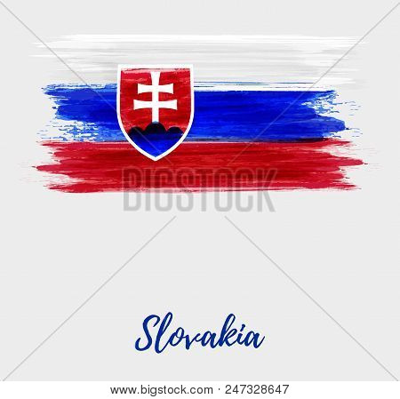 Abstract Watercolor Imitation Grunge Flag Of Slovakia. Slovak Republic Flag Background. Template For