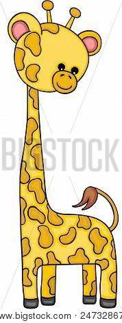 Scalable Vectorial Representing A Cute Little Giraffe, Illustration Isolated On White Background.