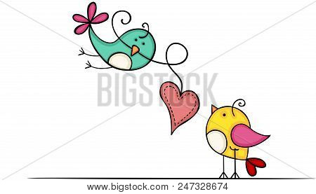 Scalable Vectorial Representing A Lovely Birds With Heart, Illustration Isolated On White Background