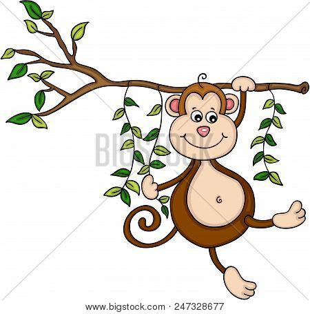 Scalable Vectorial Representing A Hanging Monkey Hanging From A Tree In Jungle, Element For Design,