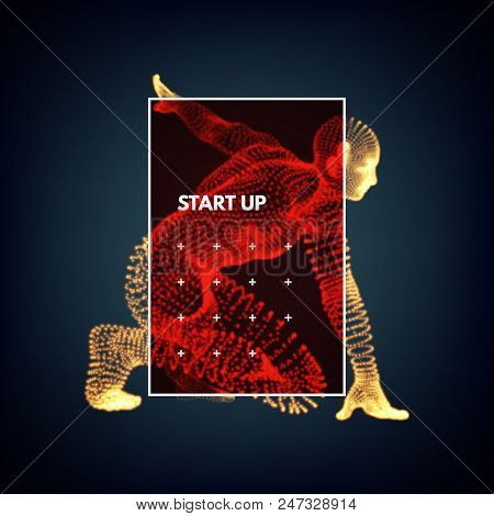 Start Up Business Concept. Athlete At Starting Position. Runner Ready For Sports Exercise. 3d Vector