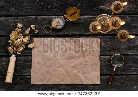 Blank Paper Page With Copy Space For Treasure Map, Compass, Magnifier Loupe And Shovel Full Of Gold