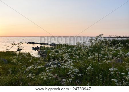 View At The Oland Bridge Connecting The Swedish Island In The Baltic Sea With Mainland Sweden