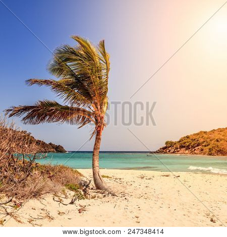 Empty idyllic beach on a small island in BVI