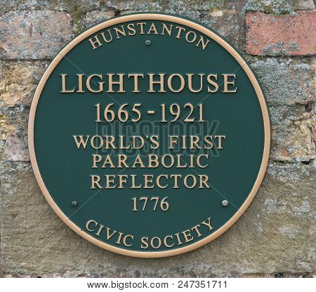Hunstanton Lighthouse Plaque - First Parabolic Reflector