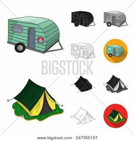 Family Holiday Cartoon, Black, Flat, Monochrome, Outline Icons In Set Collection For Design. Recreat