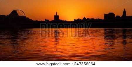 A Sunset Silhouette View From Muelle Uno Walk From Malaga City, Costa Del Sol, Andalucia, Spain, Wes