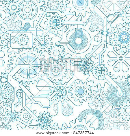 Clockworks Mechanism In Steampunk Style Illustration With Many Gears Drawn Blueprint, Seamless Patte
