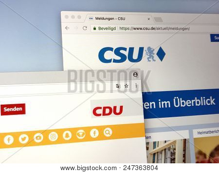 Berlin, The Netherlands - June 29, 2018: Official Websites Of German Unofficial Political Union Part