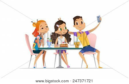 Group Of Young People Meeting At The Cafe A And Taking Selfie. Teenagers Friends At The Restaurant T