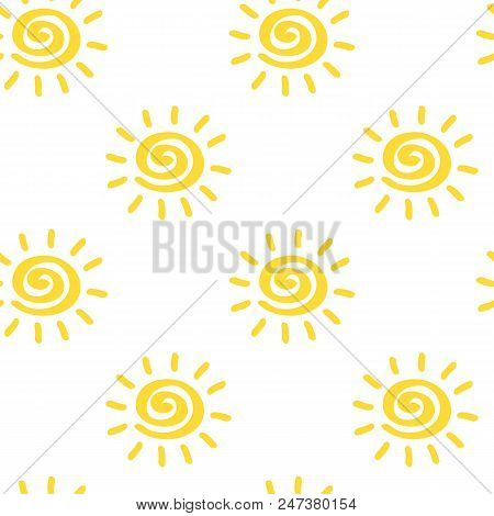 Vector Seamless Pattern With Sun Isolated On White Backdrop. Sumer Background. Creative Colorful Wal