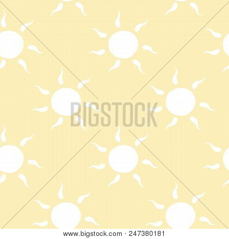 Vector Seamless Pattern With White Sun With Ether Sign. Cute Summer Background. Cute Colorful Wallpa