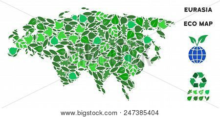 Ecology Eurasia Map Composition Of Herbal Leaves In Green Color Shades. Ecological Environment Vecto