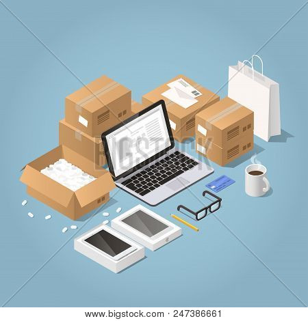 Vector Isometric Illustration Of Online Shopping And Delivery. Laptop With Order Surrounded With Car