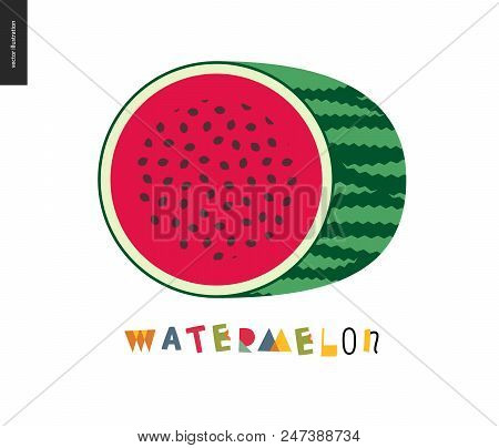 Food Patterns - Fruit, Watermelon - Half Of Striped Watermelon On A White Background, Rind, Pulp And