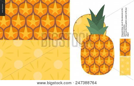 Food Patterns - Fruit, Vector Flat Pineapple Texture - Two Seamless Patterns Of Brown Pineapple Rind