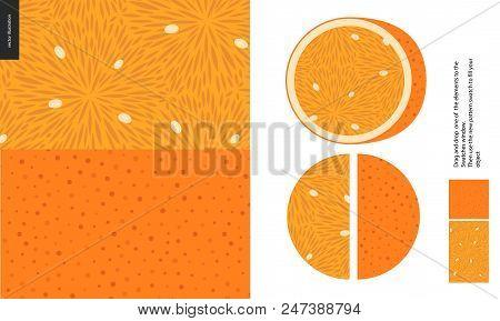 Food Patterns, Summer - Fruit, Orange Texture, Half Of Orange Image On The Side -two Seamless Patter