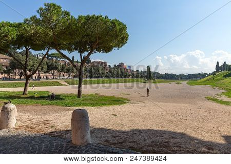 Ancient Stadium Circus Maximus With Blue Sky And Clouds, Rome, Italy, Europe
