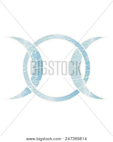 Vintage Distressed Vector Illustration For Pagan And Wiccan Community: Moon Goddess Symbol. Modern W
