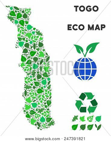 Ecology Togo Map Collage Of Herbal Leaves In Green Color Hues. Ecological Environment Vector Templat