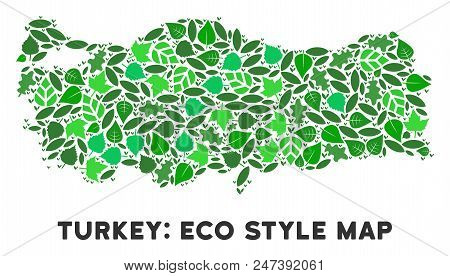 Ecology Turkey Map Composition Of Herbal Leaves In Green Color Hues. Ecological Environment Vector C
