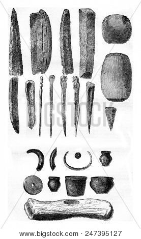 Gallic instruments, Objects discovered in the lakes of Switzerland, Plate II, vintage engraved illustration. Magasin Pittoresque 1855.