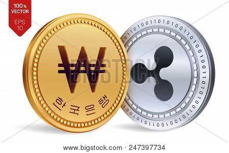 Ripple. Won. 3d Isometric Physical Coins. Digital Currency. Korea Won Coin. Cryptocurrency. Golden A