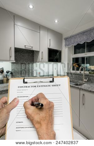 Contractor estimate form for decorating small modern kitchen in UK apartment or flat poster