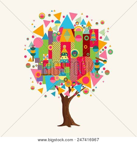 Tree Made Of Colorful Abstract Shapes. Vibrant Color Geometric Icons And Symbols For Fun Conceptual