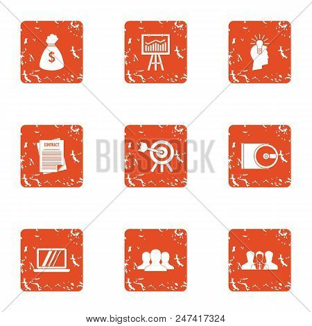 Loot Icons Set. Grunge Set Of 9 Loot Vector Icons For Web Isolated On White Background