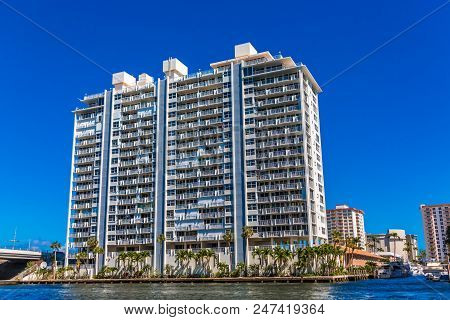 A Coastal Condo Building on the Intracoastal Waterway in Fort Lauderdale, Florida poster