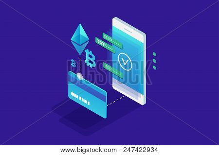 Cryptocurrency Concept. Payment By Cryptocurrency Ethereum And Bitcoin. Perfect For Web Design, Bann