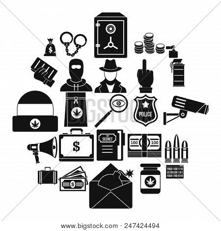 Criminal Offence Icons Set. Simple Set Of 25 Criminal Offence Vector Icons For Web Isolated On White