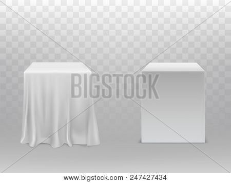 Vector Realistic White Cubes, One Block Covered With Silk Cloth, Another Empty, Isolated On Transpar