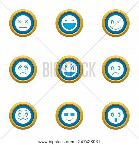 Grin Icons Set. Flat Set Of 9 Grin Vector Icons For Web Isolated On White Background