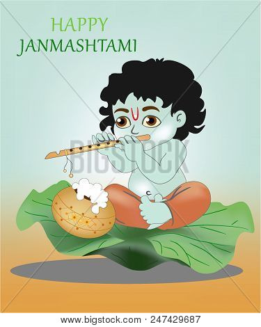Little Krsna Sits On A Lotus Leaf And Plays The Flute