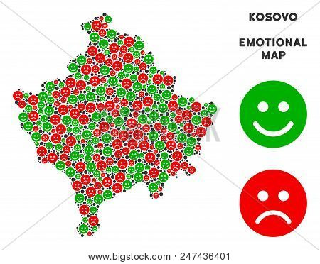 Happiness and sorrow Kosovo map composition of emojis in green and red colors. Positive and negative mood vector template. Kosovo map is constructed from red unhappy and green positive icons. poster