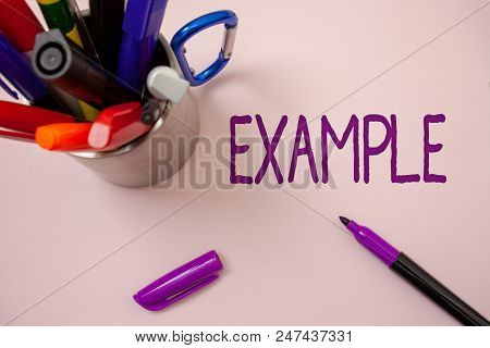 Handwriting Text Writing Example. Concept Meaning Illustration Sample Model To Follow Guide Explanat