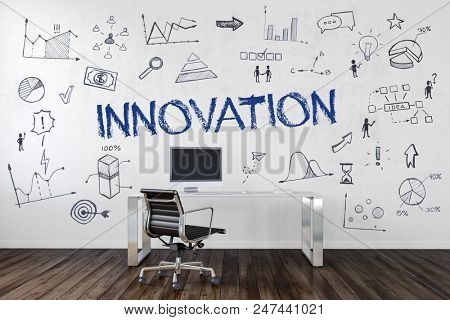 Innovation Concept with business doodles in an office hand drawn on the wall behind a modern desk and work station on a wooden floor and central text - Innovation