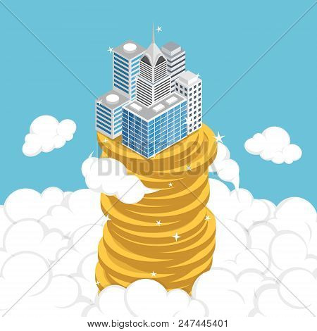 Flat 3d Isometric Business Building On Stack Of Coin Above The Cloud. Business Success And Economic