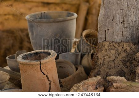 Ancient Handmade Clay Pots, Jugs, And Other Pottery.