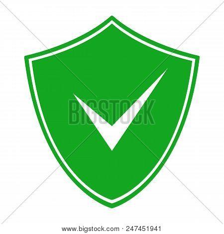 Green Shield With Check Mark Symbol. Vector Icon.