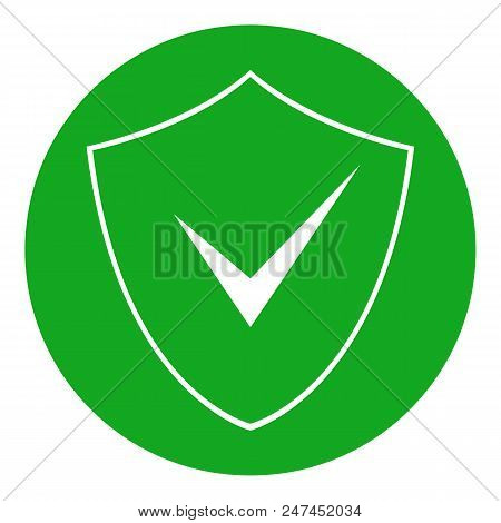 Green Shield And Check Mark In Circle. Protection Symbol. Vector Icon.
